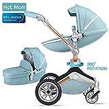 Hot Mom Kombikinderwagen 3 in 1 mit Buggy und Babywanne 2018 neues Design, Baby Autoschale separate...