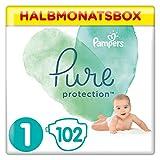 Pampers Pure Protection, Gr.1 Newborn 2-5 kg, Halbmonatsbox (1 x 102 Stück), mit Premium-Baumwolle