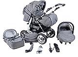 Clamaro 'VIP' 3in1 Premium Kombikinderwagen System, Kinderwagen Kombi mit Babywanne, Buggy und Auto...