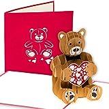 Grußkarte mit 'Teddybär' 3D Pop up, Bär, Geburtskarte, Glückwunschkarte Hochzeitstag,...