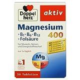 Doppelherz Magnesium 400 + B1 + B6 + B12 + Folsäure / Magnesium für die Muskeln, das Nervensystem und den Energiestoffwechsel / 1 x 30 Tabletten