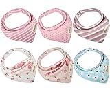 Bandana Baby Lätzchen Bib, Baumwolle Sabberlätzchen, saugfähige weich Dreieckstuch Halstücher mit verstellbaren Druckknöpfen für Jungen Mädchen zum Füttern oder Geschenk von Discoball (1 Set 6 Stücke)