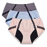 Intimate Portal Damen Sicherheit Menstruations Unterwäsche Baumwolle Slips Für Periode Inkontinenz Versteckte Tasche Grau Beige Blau 3er-Pack M