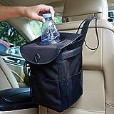 YIKANWEN Auto Mülleimer, Kfz-Abfalltasche mit Abdeckung und Aufbewahrungs Taschen – Schwarze, zusammenfaltbare, auslaufsichere Mülltasche