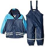 Playshoes Baby-Jungen Regenjacke Kinder Wasserdichter Matschanzug, Regenanzug mit Fleece-Futter, Reflektoren, Abnehmbare Kapuze, Blau (Marine 11), 80