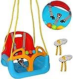 Babyschaukel / Gitterschaukel - mitwachsend & umbaubar - mit Gurt - ' ROT / GELB / BLAU ' - leichter Einstieg ! - 100 kg belastbar - Kinderschaukel ab 1 Jahre - mit Rückenlehne & Seitenschutz - mitwachsende - Schaukel für Kinder - Innen und Außen / Garten - für Baby´s - aus Kunststoff / Plastik - Gitterschaukel / verstellbare Kleinkindschaukel - Baby - Indoor Outdoor / Kunststoffschaukel - Mitwachsschaukel bunt - Sicherheitsgurt