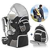 Fillikid Rückentrage - Rücken Babytrage mit Sonnenschutz, Gurt, Kinder Rucksack und Staufächern |...