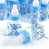 JZK 24 x Blau Baby Candy Junge Box Flasche Baby Shower Babydusche Geschenk Box Party Taufe...
