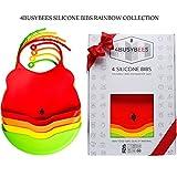 Baby Silikon Lätzchen Rainbow Kollektion - 4er Pack Baby Lätzchen – Bestes Baby und Neugeborenen Geschenk – Lätzchen mit Auffangschale - Wasserdicht – Spülmaschinenfest - Baby Lätzchen Junge Mädchen KLEIN