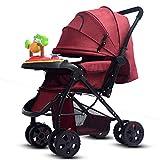 MUYU Multifunktionaler Kinderwagen mit Musikplatte Babywagen mit klappbarer Markise Buggy Zwei-Wege-Putter Kinderkraft,Red