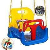 Babyschaukel 3 in 1 Babysitz verstellbar und mitwachsend Schaukelsitz Gartenschaukel für Baby und Kinder mit Rückenlehne und Anschnallgurt belastbar bis 200kg Blau (Blau)