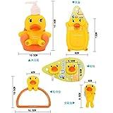 LHbox Tap Kinder Baby Bad Suite Student Waschen 5-Pack kreativen schöne Toilettenartikel, süße Kleine Ente, 5-teilig (Lotion Flasche + Soap Box + Handtuchhalter + Haken + Bürstenhalter)