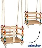 Gitterschaukel - UMBAUBAR - mit abnehmbaren Gurt - Schaukel aus Holz - mitwachsend & verstellbar - Babyschaukel / Kinderschaukel - leichter Einstieg ! - Holzgitterschaukel für Innen und Außen - Indoor Outdoor - verstellbare Kleinkindschaukel - Sicherheitsgurt - Holzschaukel Baby Kinder - Garten oder im Haus - Sicherheitsstäbe / bunte Stäbe - Holzbabyschaukel