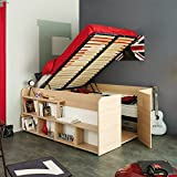 Funktionsbett Aaliyah 140*200 cm beige buche inkl Hydraulik + 2 Roll-Bettkästen + Kleiderschrank...