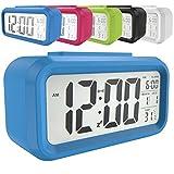 LED Digital-Wecker batteriebetriebener mit Schlummertaste 5,3' extra großem Display Datum, Temperatur-Sensor-Licht Snooze 5 Minuten für Kinder Studenten und Erwachsene(Grün/Pink/Blau/Schwarz/Weiß) (Blau)