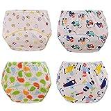 HaimoBurg Wasserdicht Baby Lernwindel Trainerhosen Unterwäsche Windeln Windelhose zum Toilettentraining Töpfchentraining 5-24 Monaten (4er Jungen)