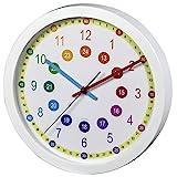 Hama Kinderwanduhr zum Lernen der Zeit (ohne Ticken Easy Learning, Lernziffernblatt mit Ø 30 cm,...