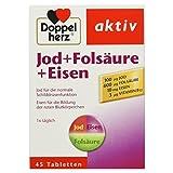 Doppelherz Jod + Folsäure + Eisen – Mit Jod zur Unterstützung der normalen Schilddrüsenfunktion – 1 x 45 Tabletten