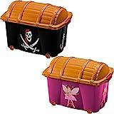 Aufbewahrungsbox für Mädchen 'Fee'  50L  mit Deckel  mit 4 Rollen  vielseitig einsetzbar - Spielzeugkiste Spielkiste Schatzkiste Spielbox Rollbox Container Box