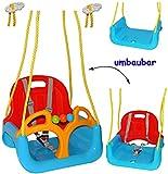 mitwachsende - Babyschaukel / Gitterschaukel mit Gurt - ' ROT / GELB / BLAU ' - leichter Einstieg ! - mitwachsend & verstellbar - 100 kg belastbar - Kinderschaukel ab 1 Jahre - mit Rückenlehne & Seitenschutz - Schaukel für Kinder - Innen und Außen / Garten - für Baby´s - aus Kunststoff / Plastik - Kunststoffschaukel - Mitwachsschaukel bunt - Sicherheitsgurt - Gitterschaukel / verstellbare Kleinkindschaukel - Baby - Indoor Outdoor