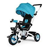Fascol Baby Dreirad 4 in 1 Klappbar Tricycle Kinderdreirad mit abnehmbarer Sonnendach Schubstange...