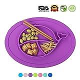 Maysurban Baby Kinder Teller Geschirrset Süße Wal Muster aus Silikon Tischset Violett