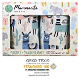 Baby Pucktuch 2er Set - Swaddle Blanket aus 100% Baumwolle OEKO-TEX zertifiziert - leichte & weiche Puckdecke mit Lamas - ideal als Babydecke, Stilltuch, Spucktuch (120x120 cm + 75x75 cm)
