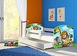 Clamaro 'Fantasia Weiß' Motiv Kinderbett Komplett Set 160 x 80 cm inkl. Matratze, Lattenrost und Bettkasten Unterbett Schublade auf Rollen, Kantenschutzleisten umlaufend, extra Rausfallschutz Seitenteil (verstellbar), Seitenteile: Weiß, Design: 02 Tierpark-2