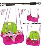 2 tlg. Set _ Türreck + mitwachsende - Babyschaukel / Gitterschaukel mit Gurt - ' ROSA / PINK ' - leichter Einstieg ! - mitwachsend & verstellbar - 100 kg belastbar - Kinderschaukel ab 1 Jahre - Reck für Türrahmen Befestigung - Stange - Türstange - mit Rückenlehne & Seitenschutz - Schaukel für Kinder - Innen und Außen / Garten - für Baby´s - aus Kunststoff / Plastik - Kunststoffschaukel - mitwachsend - Sicherheitsgurt - Gitterschaukel / Kleinkindschaukel - Baby
