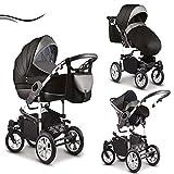 16 teiliges Qualitäts-Kinderwagenset-Reisesystem 3 in 1'COSMO' in 41 Farben: Kinderwagen + Buggy +...
