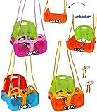 mitwachsende - Gitterschaukel / Babyschaukel mit Gurt - ' ROSA / PINK ' - incl. Name - leichter Einstieg ! - verstellbar & mitwachsend - belastbar 100 kg - Kinderschaukel ab 1 Jahre - mit Seitenschutz & Rückenlehne - Schaukel für Kinder - Innen und Außen / Garten - für Baby´s - aus Kunststoff / Plastik - Mitwachsschaukel / Kunststoffschaukel - Sicherheitsgurt - Gitterschaukel / verstellbare Kleinkindschaukel - Baby - Indoor Outdoor