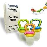 bestbeans Baby Smoothie Maker Fruchtsauger Schnuller - Perfekt für Früchte Obst Gemüse in verschiedenen Farben inkl. Schutzkappe (L, Grün)