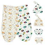 HBselect 2 Set Pucktuch Baby Pucksack Mutze Handschuhe Set 100% Baumwolle für Baby Neugeborene für bis 6 Monate