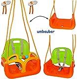 mitwachsende - Babyschaukel / Gitterschaukel mit Gurt - ' ORANGE / GRÜN / GELB ' - leichter...