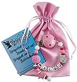 Personalisierte Schnullerkette mit Namen aus Holz in Rosa für Mädchen   verschiedene Designs verfügbar  perfektes Baby-Geschenk zur Geburt und Taufe (Design1)