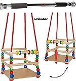 2 tlg. Set _ Gitterschaukel aus Holz + Türreck / Kinderschaukel - mit Gurt / leichter Einstieg ! - mitwachsend & verstellbar - Schaukel & Babyschaukel - verstellbare Kleinkindschaukel - Reck für Türrahmen Befestigung - Stange - Türstange - Holzschaukel Baby Kinder - Holzgitterschaukel für Innen und Außen - Indoor Outdoor - mit Sicherheitsstäben / bunte Stäbe - Holzbabyschaukel - Garten oder im Haus