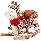 Schaukeltier Schaukelpferd Schaukelstuhl Schaukelspielzeug Plüschschaukel für Kinder und Baby (Giraffe) Merax