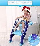 Baby Töpfchentrainer Kinder Toiletten Trainer, HOMEOW WC Toilettensitz für kinder Töpfchen Toiletten mit Leiter Treppen Sitz für Toiletten rutschfest stabil klappbar 38-42cm