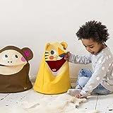 Julica Design Kinder Spielzeugtasche Utensilo | Tiger | Spielzeug Aufbewahrung im Kinderzimmer | Aufbewahrungssack mit Deckel und Tier Motiv | OEKO-TEX Standard