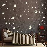 Wandtattoo Loft Leuchtaufkleber 'Weltall mit 143 selbstleuchtenden Aufklebern' - Sternenhimmel Leuchtsticker fluoreszierend & im Dunkeln leuchtend