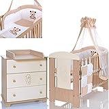BÄR Beige Babyzimmer Möbel Komplettset mit Kinderbett 120x60 Wickelkommode 9 teiligen Bettwäsche...