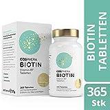 Biotin Tabletten - Hochdosiert mit 10.000 mcg D-Biotin pro Tablette - 365 vegane Tabletten im...