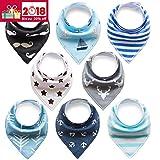 8er Baby Dreieckstuch Lätzchen Spucktuch Halstücher mit Verstellbaren Druckknöpfen Multifunctional, Super Absorbent & Soft Baumwoll, Jungen, von Future Founder