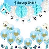 TopDeko Babyparty Deko Jungen, Baby Junge Deko Baby Shower Boy Deko mit It's A Boy Girlande, 6pcs...