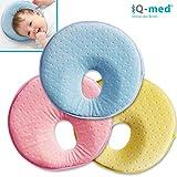 Babykissen von iQ-med | Baby-Kissen gegen Verformung und Plattkopf | aus viskoelastischem Schaum | passt auch im Kindersitz | Kinder-Kissen, Kopf-Kissen für Säugling, Memory-Schaum (Blau)
