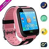 Jaybest Kid Smart Watch SOS Tracker, 1.44' Touch LCD Kinder Smartwatch mit Kamera Taschenlampen Anti-Lost Voice Chat für Jungen Mädchen Geburtstagsgeschenke(Pink)