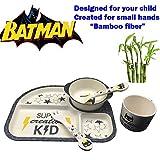 Bambusfaser Kindergeschirr Set Batman Held 5 Teile Geschirr Set Besteck Kinder Küche Spülmaschinenfest Bio Bamboo fiber Dinnerware Set Kinderbesteck Umweltfreundlich Spielzeug Kinder Bildung