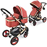 Kombikinderwagen Kinderwagen 2in1 Bambimo mit Alu-Rahmen Farbe Elegance Rot Klick System - alle 4...