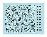 Tischset/Platzset aus Silikon für Kinder 4 Stück - Platzdeckchen/Platzmatten im 4er Set - Tischunterlage mit ABC, Zahlen, Tieren - hellblau