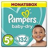 Pampers Baby Dry Windeln, für atmungsaktive Trockenheit, Gr. 5+ (12-17 kg), Monatsbox, 1er Pack (1 x 132 Stück)